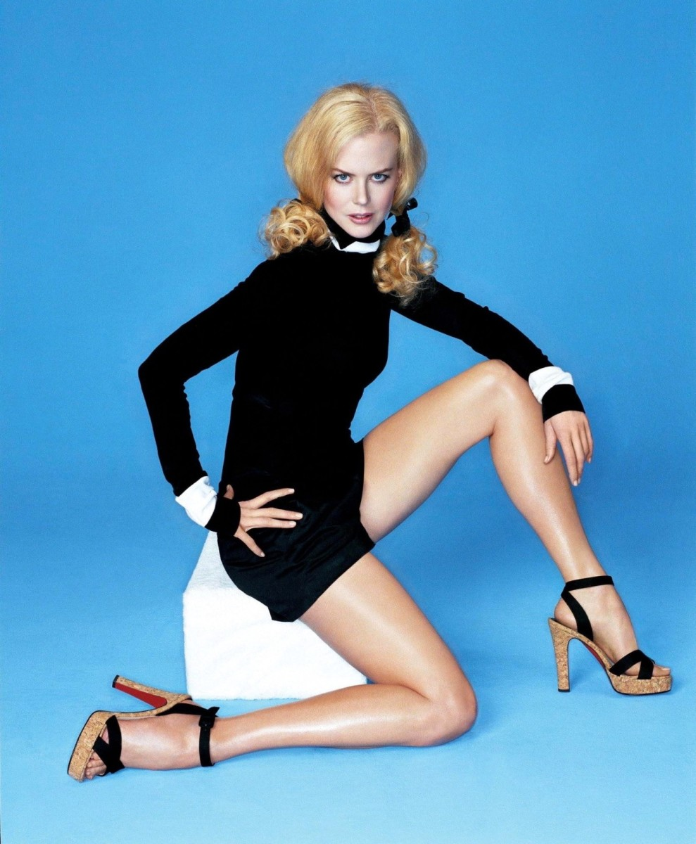 Nicole Kidman long legs in a body suit and ankle strap Louboutin high heel sandals