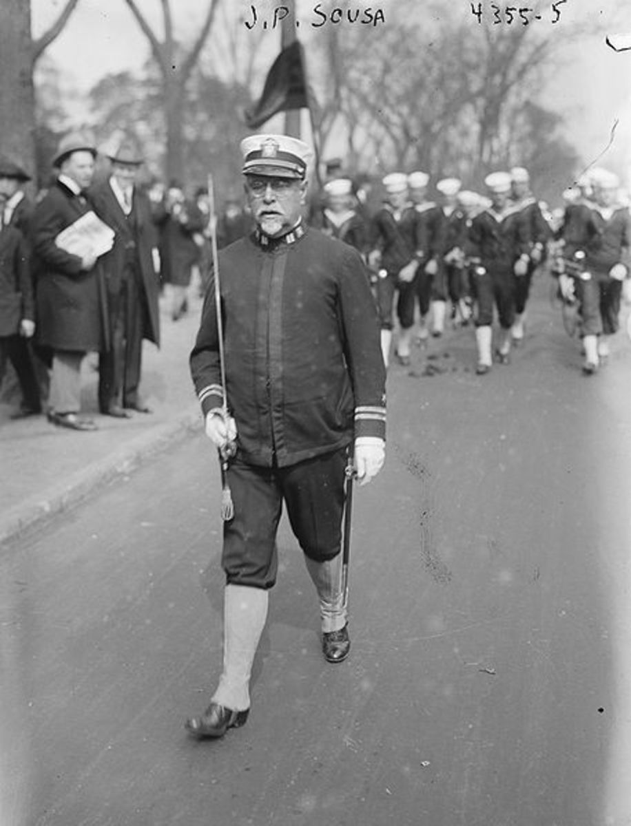 John Philip Sousa marching in front of the Great Lakes Navy Band.