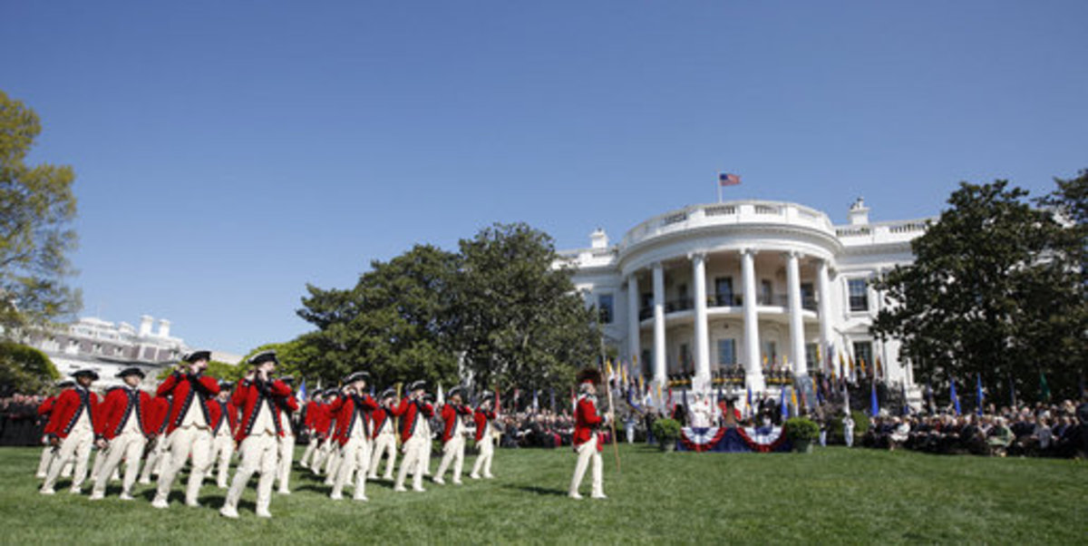 The US Army Old Guard Fife and Drum Corps on the South Lawn of the White House in 2008. The Corps performs at all armed-forces arrival ceremonies for visiting dignitaries and heads of state, and has participated in every Presidential Inaugural Parade