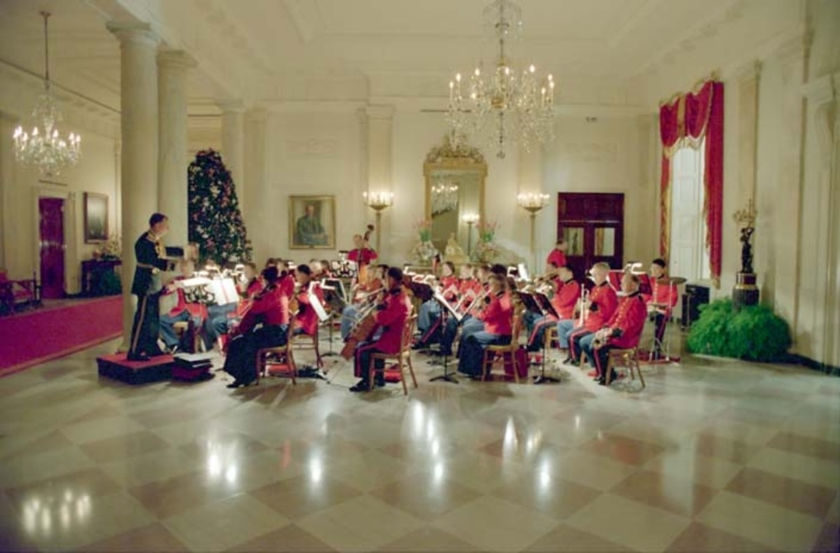 The US Marine Band as they play in the White House,  Cross Hall in 1988.