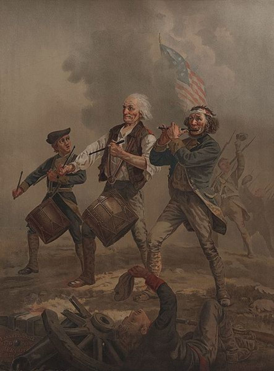 Yankee Doodle: Fife & drum leading troops into battle in 1776.