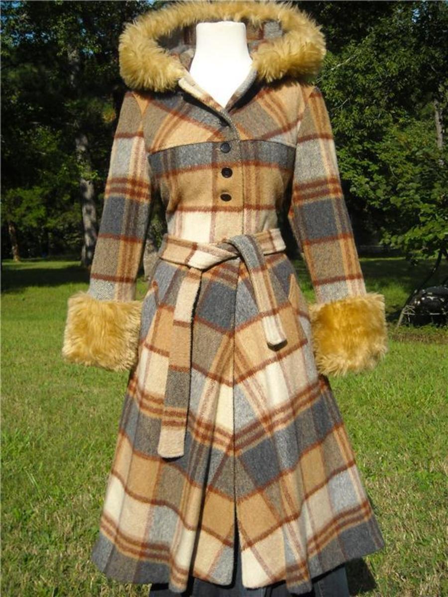 vintage plad wool faux fur coat