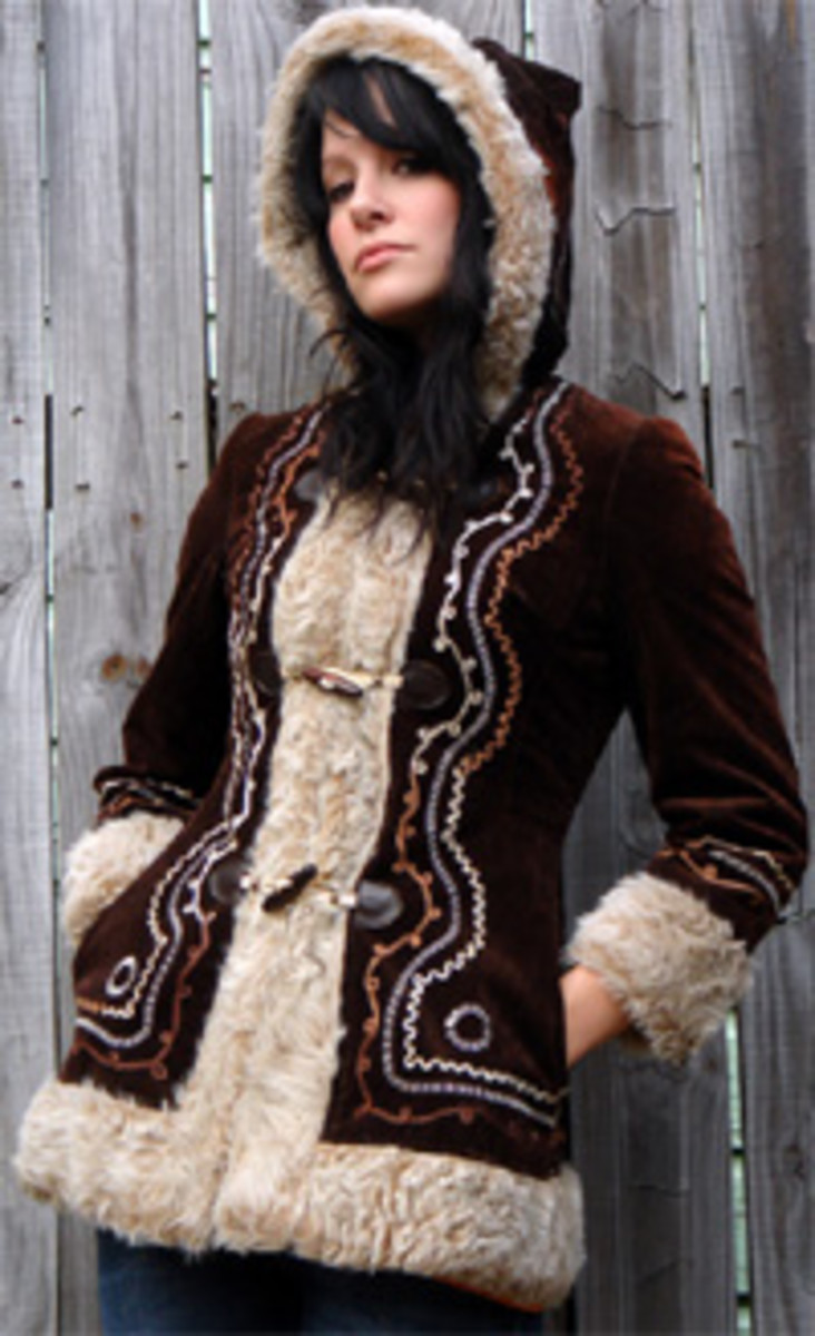 vintage coat with hood and embroidery