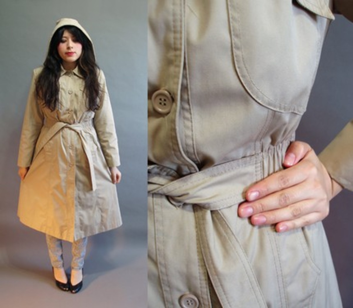 vintage hooded coat from etsy vintage