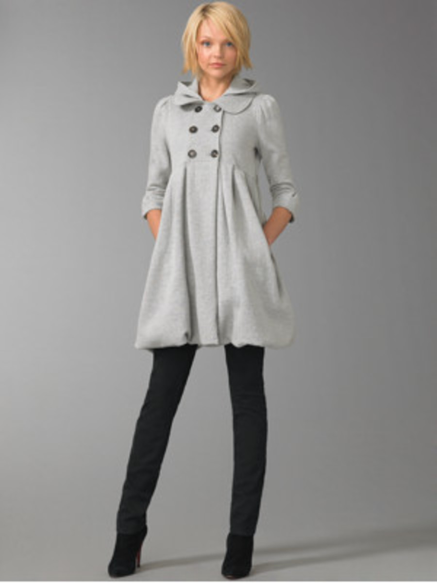Vintage style couture empire waist hooded coat in Grey from forever21 though not from this year's line.