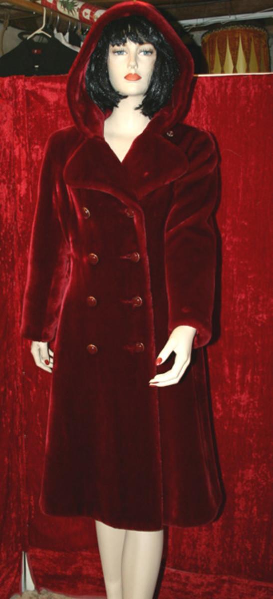 vintage red-velvet hooded coat