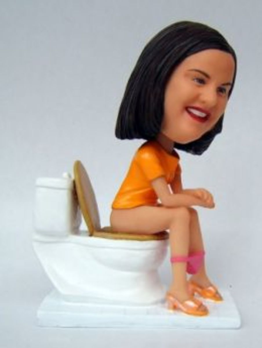 media caricature of 35-year old Pam Babcock who got stuck on toilet bowl for 2 years.