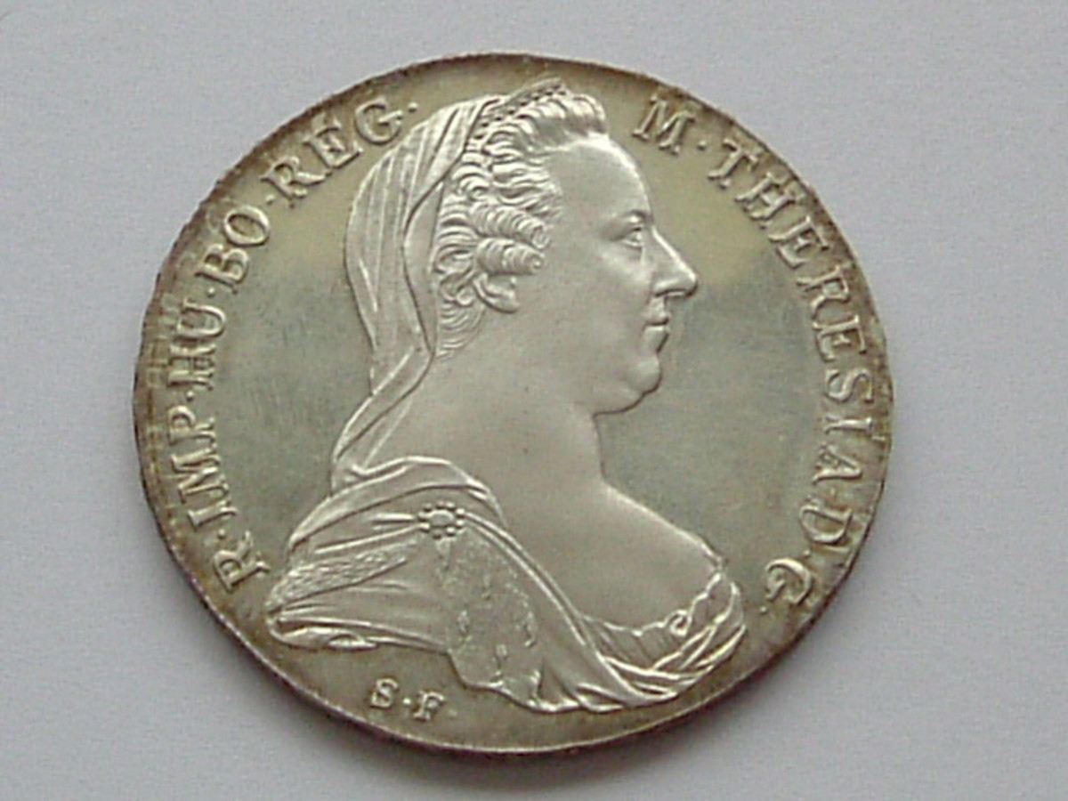 A coin from 1780 with the bust of Maria Theresa on it.