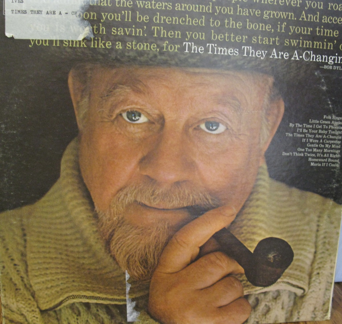"Burl Ives and album """"The times They Are A-Changin'"""