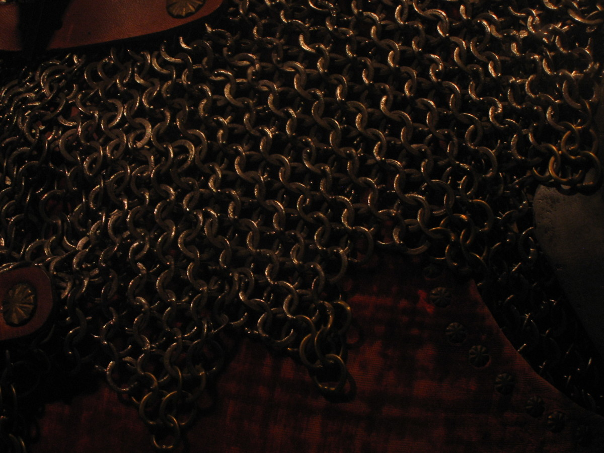 Chain mail is part of a knight's armor. My husband is making a chain mail shirt from coat hangers. This picture shows a ventail from the Metropolitan Museum in New York City. My husband took this photo when he visited there.