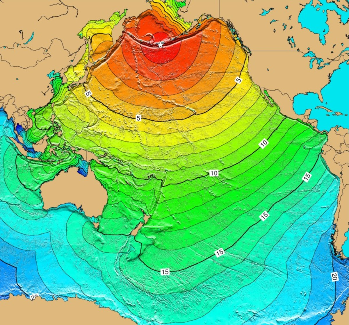 Travel time map of the tsunami