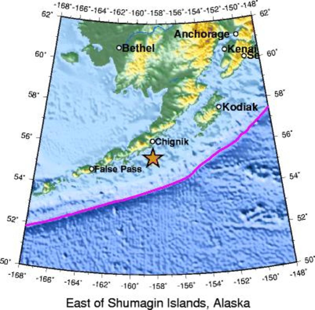 Site of earthquake
