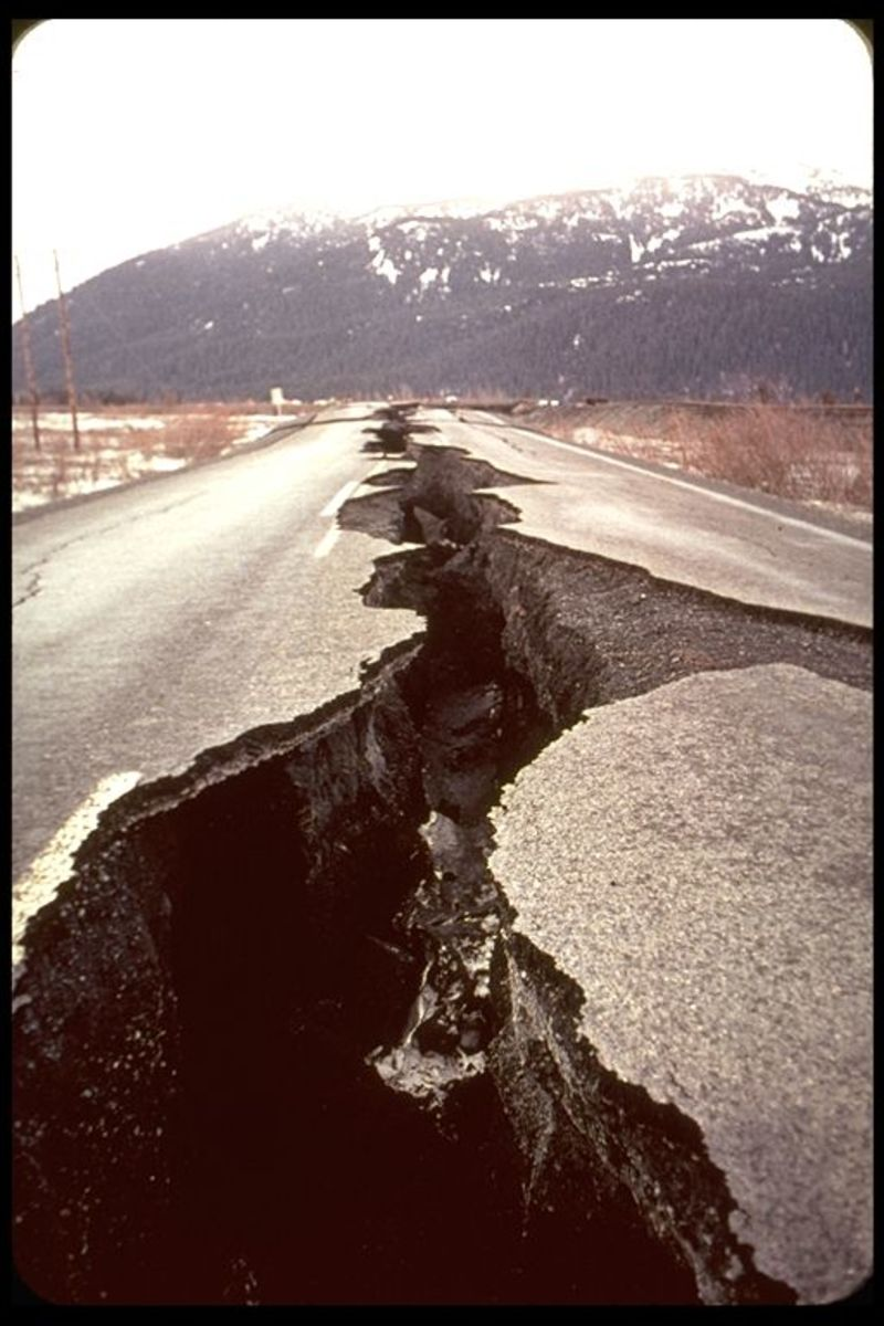 Cracked highway, Portage, Alaska. Steinbrugge Collection, Earthquake Engineering Research Center, UC Berkeley