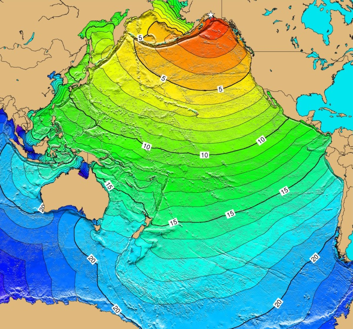 Travel time map for tsunami