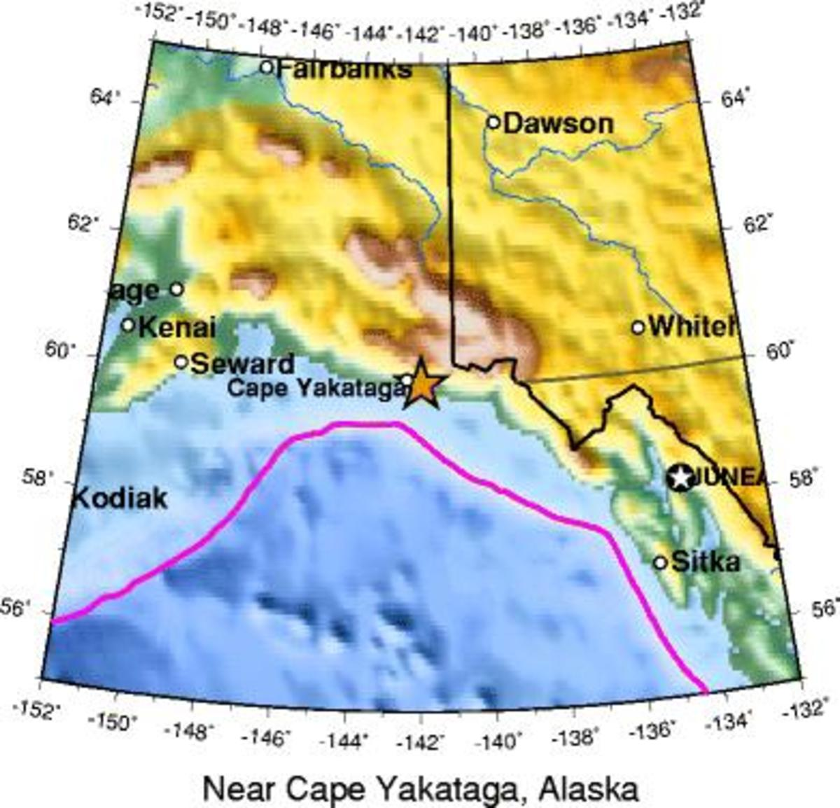 Location of earthquake