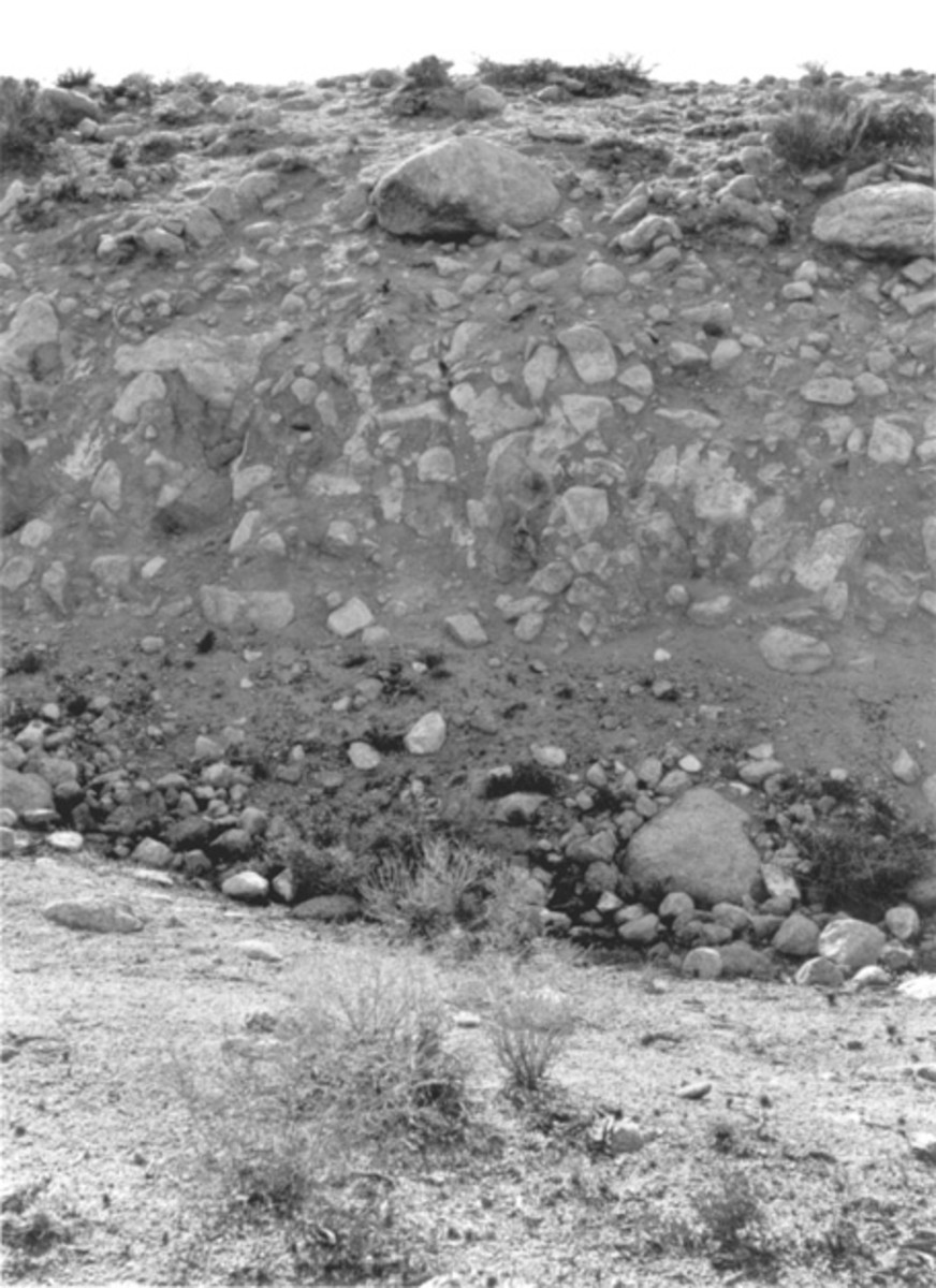 A 23-ft-high fault scarp caused by the March 26, 1872, Owens Valley, California, earthquake. (Photograph by W.D. Johnson.)