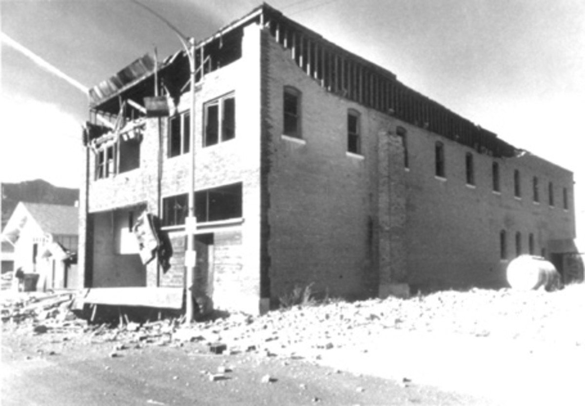 Brick walls of the old Custer Hotel, in Mackay, Idaho, damaged by the October 28, 1983, earthquake. (Photograph by the Idaho Falls, Idaho, Post-Register.)