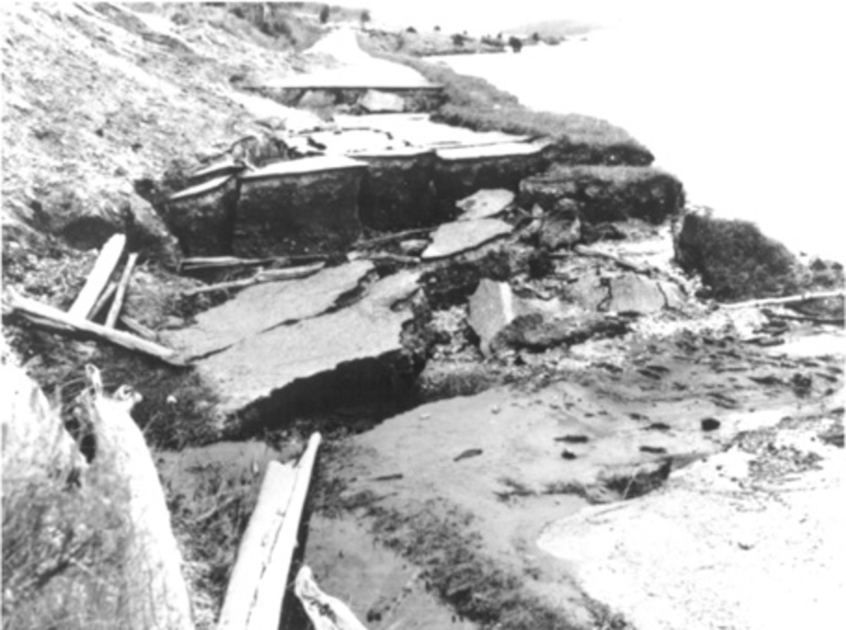 Landslide and slumping damage to State Highway 287, along the shore of Hedgen Lake. Montana, caused by the August 18, 1959, earthquake. (Photograph by J.R. Stacy.)