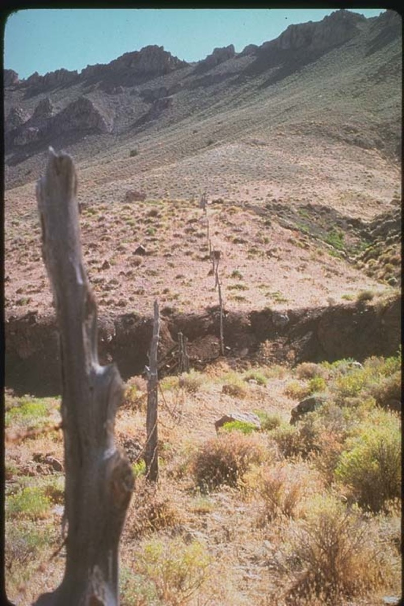 Oblique-slip fault scarp near Pleasant Valley, Nevada -Photo credit U.S. Geological Survey.