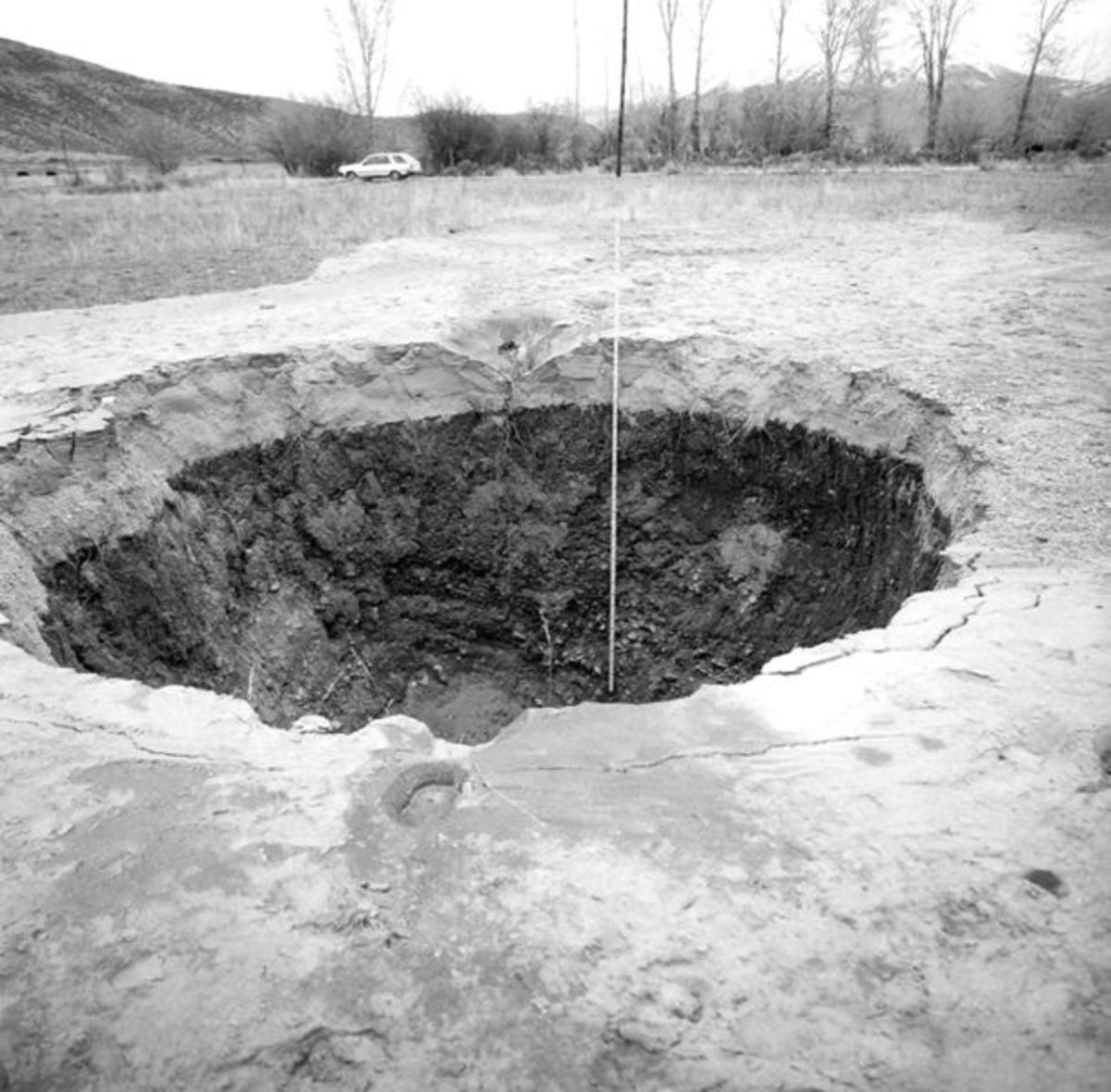 Crater caused by an artesian fountain that flowed during the 1983 Borah Peak earthquake