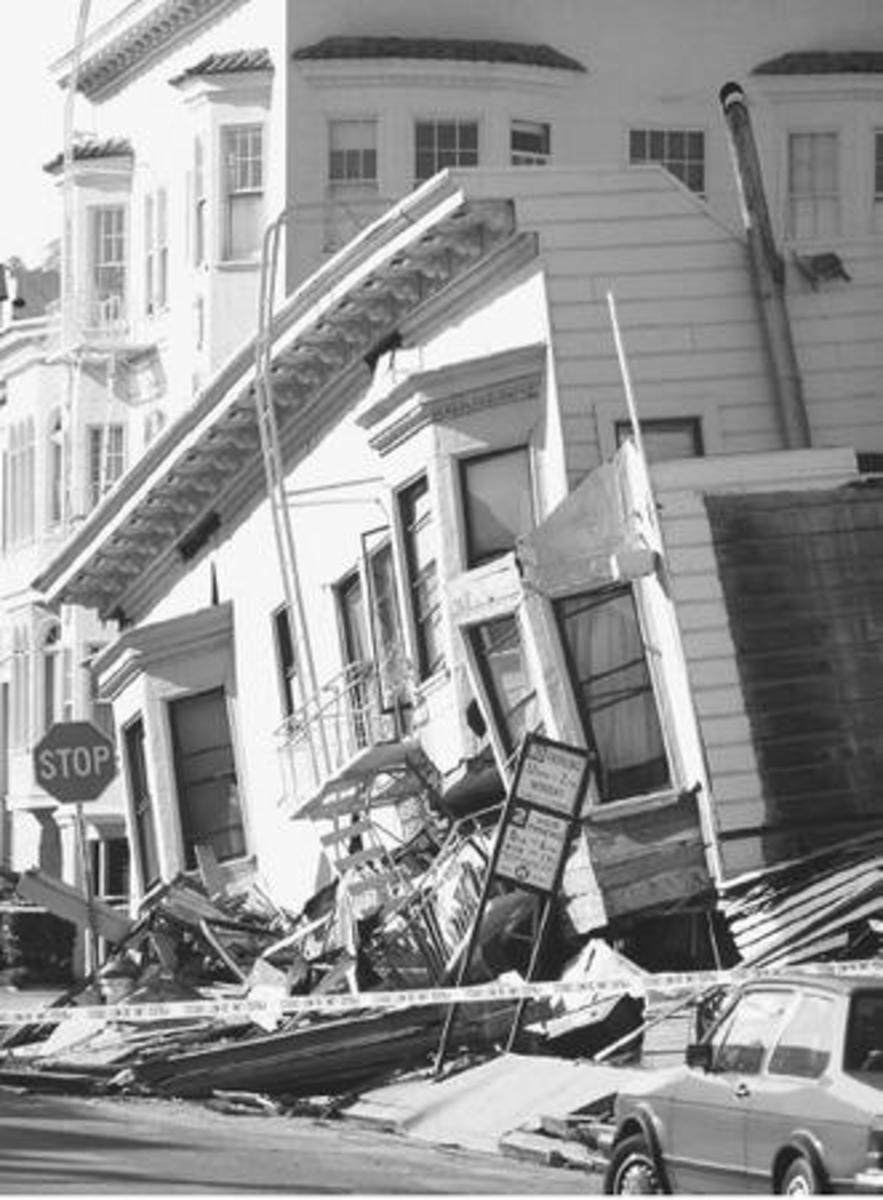 EARTHQUAKE DAMAGE IN CALIFORNIA . (David Weintraub Photo Researchers)