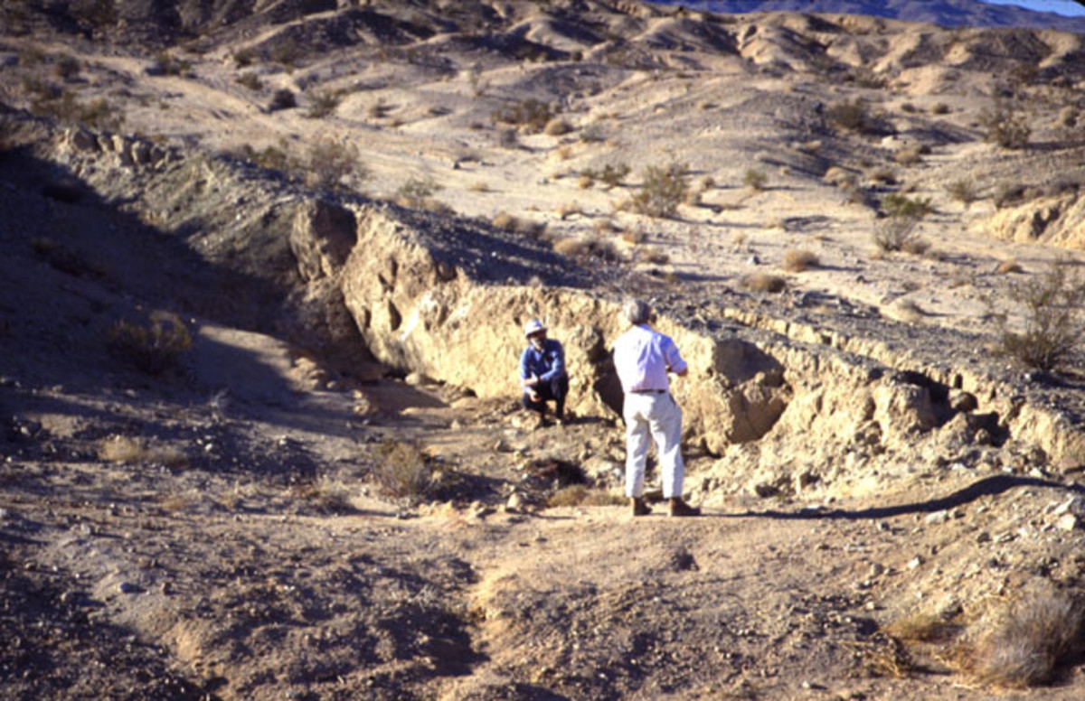 This picture shows a section of the 1992 scarp along the Emerson fault (Photo G. Peltzer)