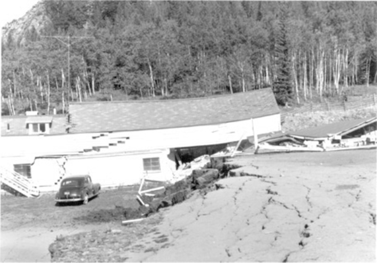 Damaged and collapsed buildings at the Blarneystone Ranch, near Hebgen Lake, Montana, caused by the August 18, 1959, earthquake. (Photograph by I.J. Witkind.)