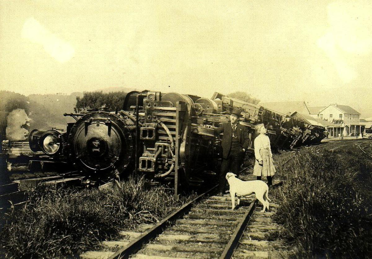 A Train thrown down by the San Francisco earthquake of April 18, 1906