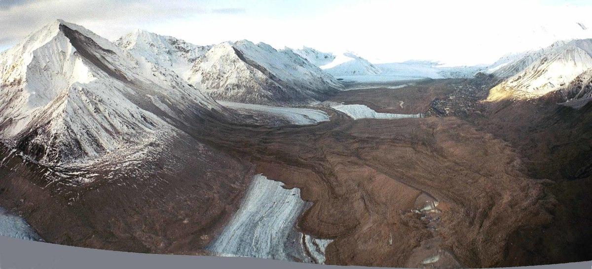 This spectacular USGS photo shows a massive landslide covering Black Rapids Glacier