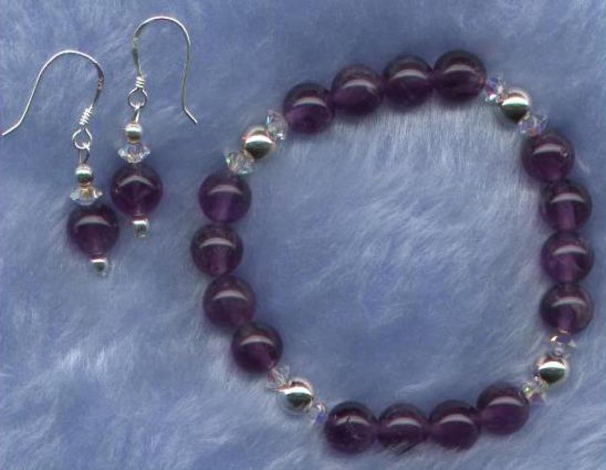 Amethyst Power Bracelet and Earrings