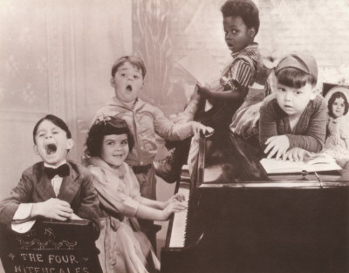 Pictured left to right: Alfalfa, Darla, Spanky, Buckwheat, and Porky.