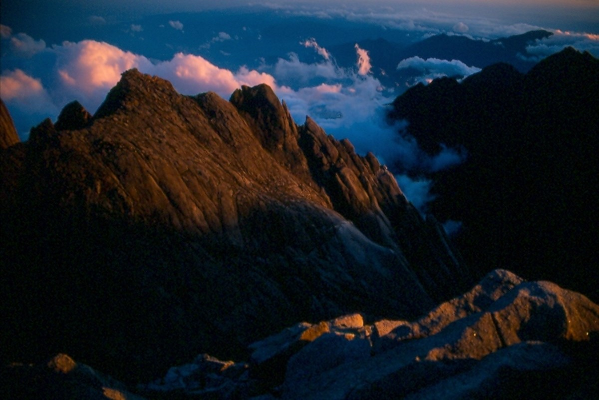 Sunrise from Lows Peak, Mt. Kinabalu, looking into Lows Gully.