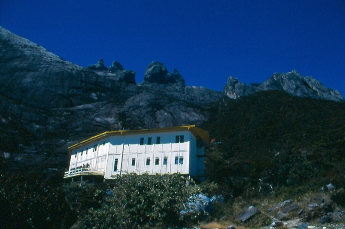 The Laban Rata guesthouse (11,000') with Kinabalu's dome in the background.