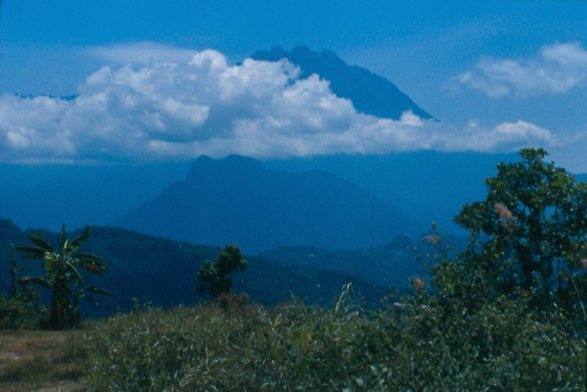 Kinabalu seen from the lowlands near Kota Kinabalu.