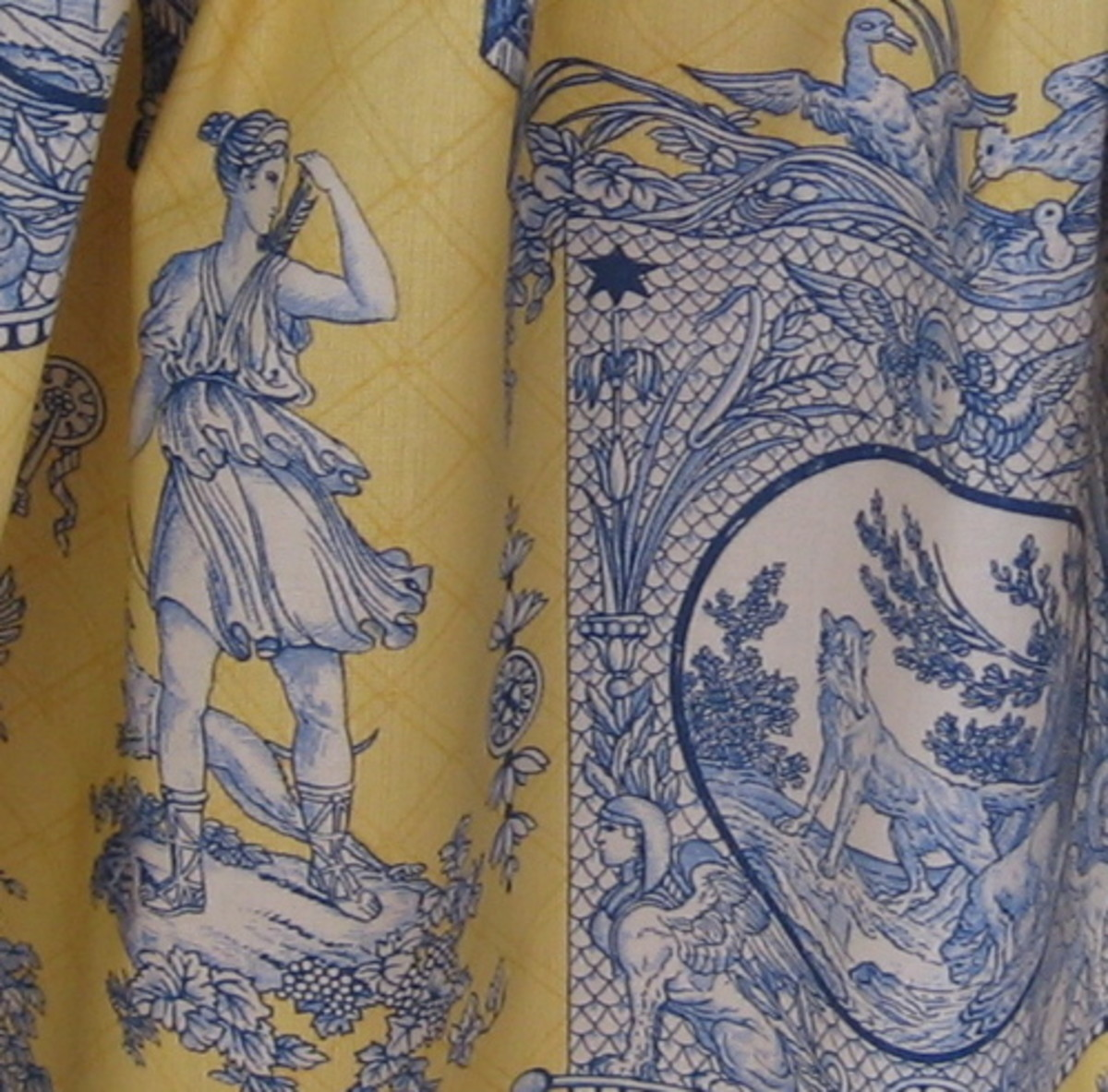 Classic Blue and Yellow Neoclassical Toile