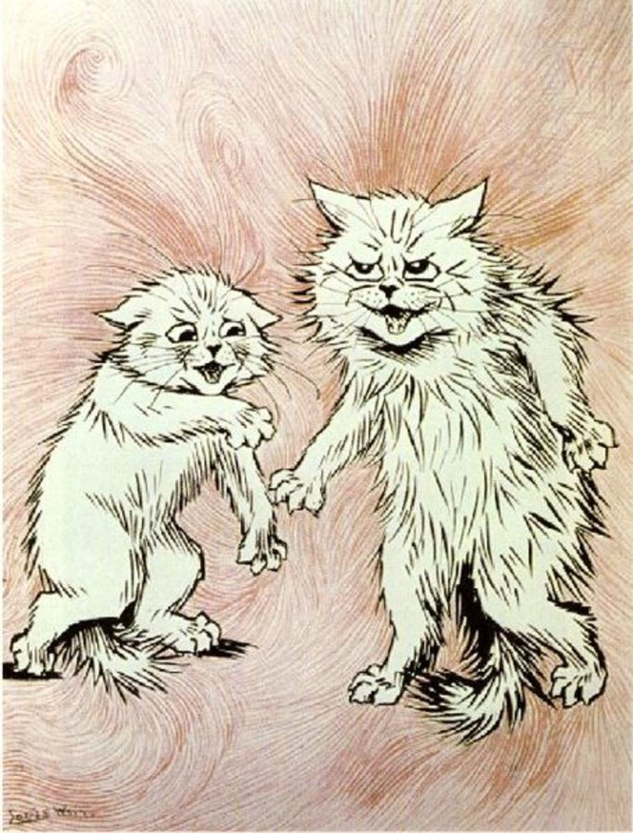 This painting of two cats having a dispute is by the renowned cat artist, Louis Wain. Image cortesy of Wiki Commons