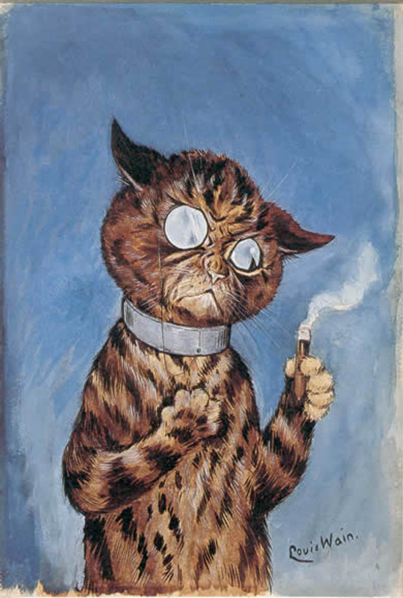 Cat with a cigar by Louis Wain, courtesy of Wiki Commons