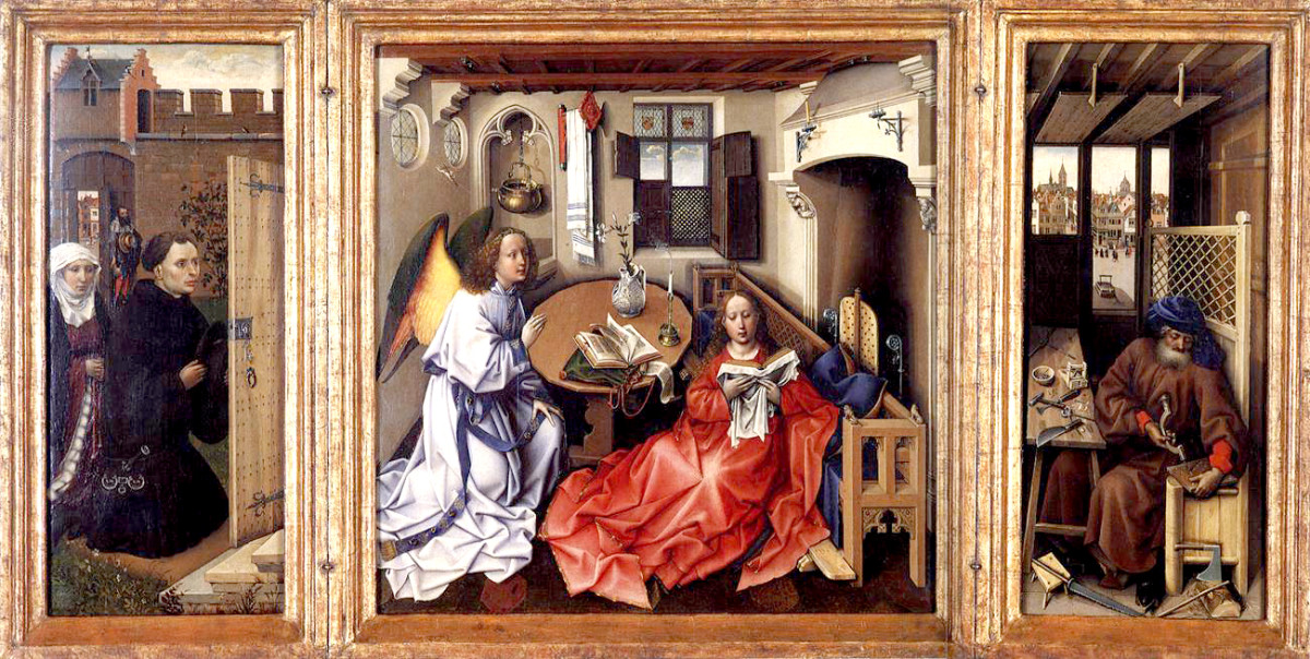 "ROBERT CAMPIN ""MERODE ALTARPIECE"" 1430 (METROPOLITAN MUSEUM OF ART, NEW YORK)"