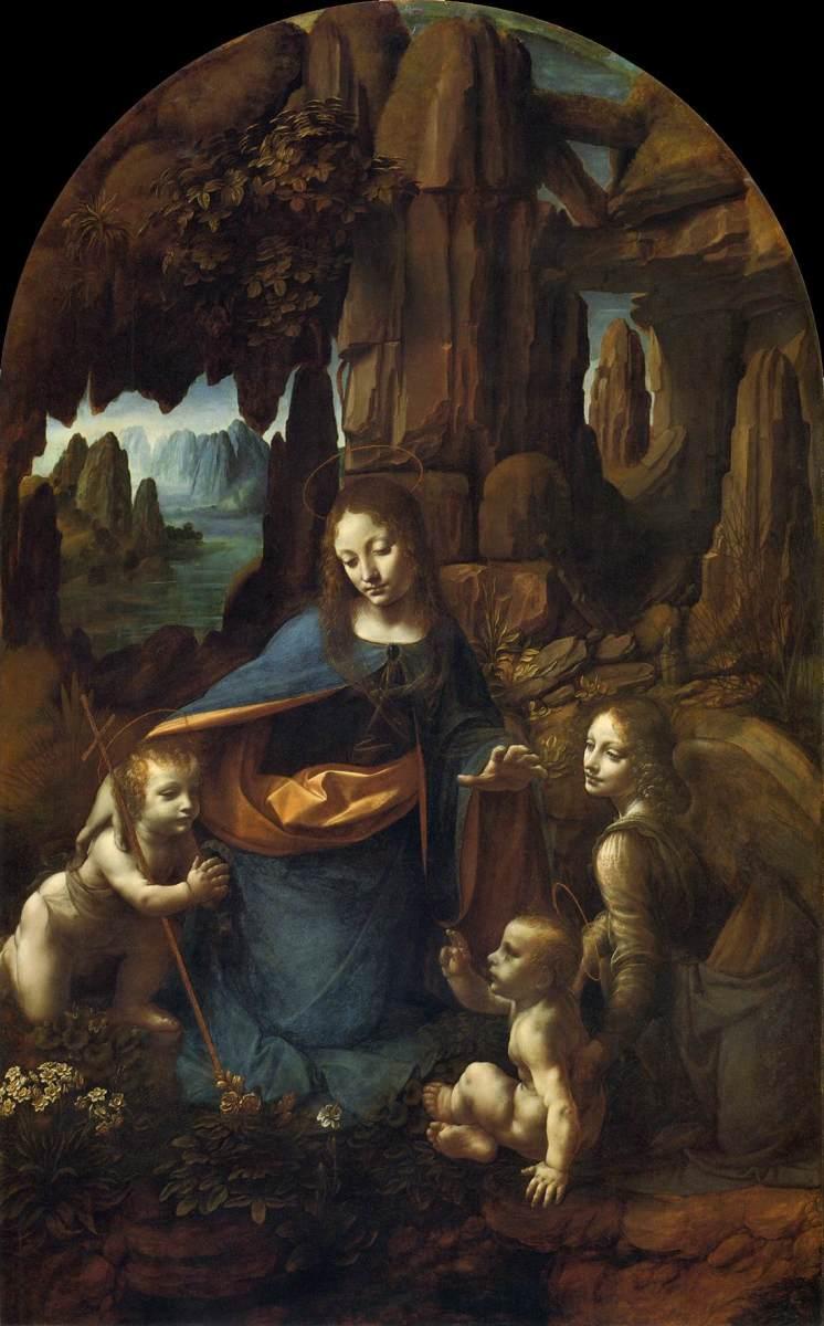 """LEONARDO DA VINCI """"THE VIRGIN OF THE ROCKS"""" 1485 (LOUVRE, PARIS)"""