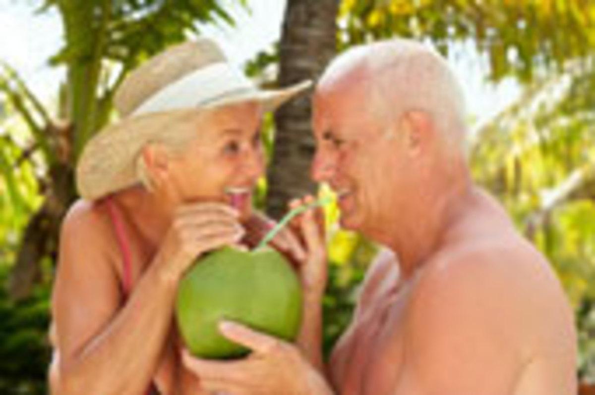 A couple enjoying a coconut delight
