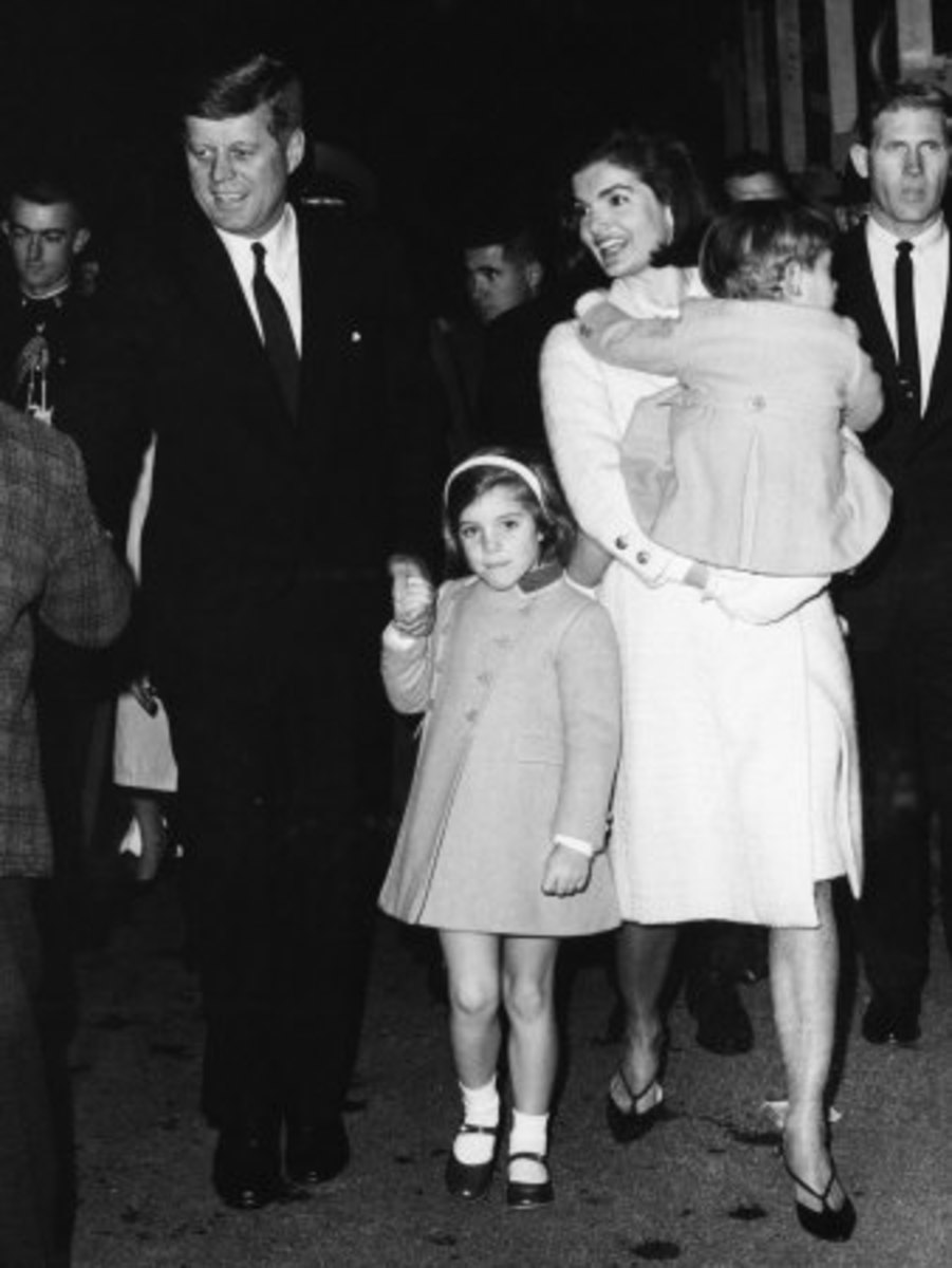 John F Kennedy and his family - Jackie and son John and daughter Carolyn