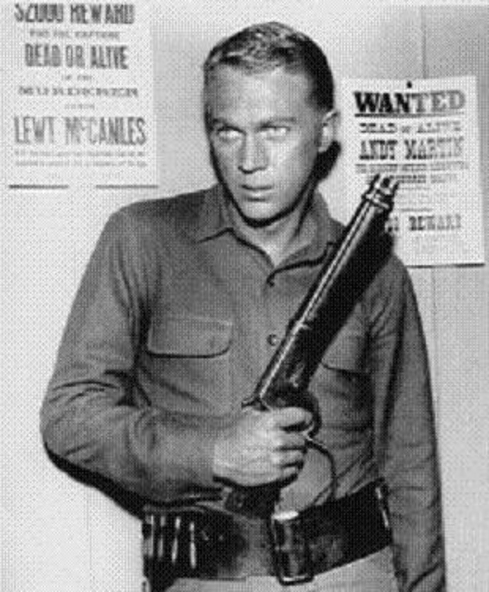"""Wanted Dead or Alive"" starring Steve McQueen as Josh Randall, bounty hunter with his cut down Mare's Leg Winchester Model 1892."