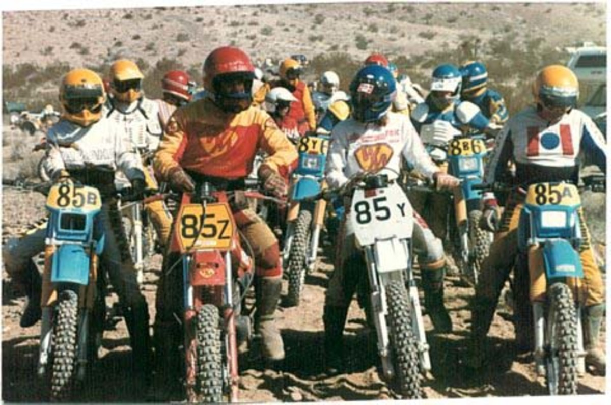 Start of an Enduro, my Dad on his Maico and me on a KTM.  Late 70's or very early 80's.