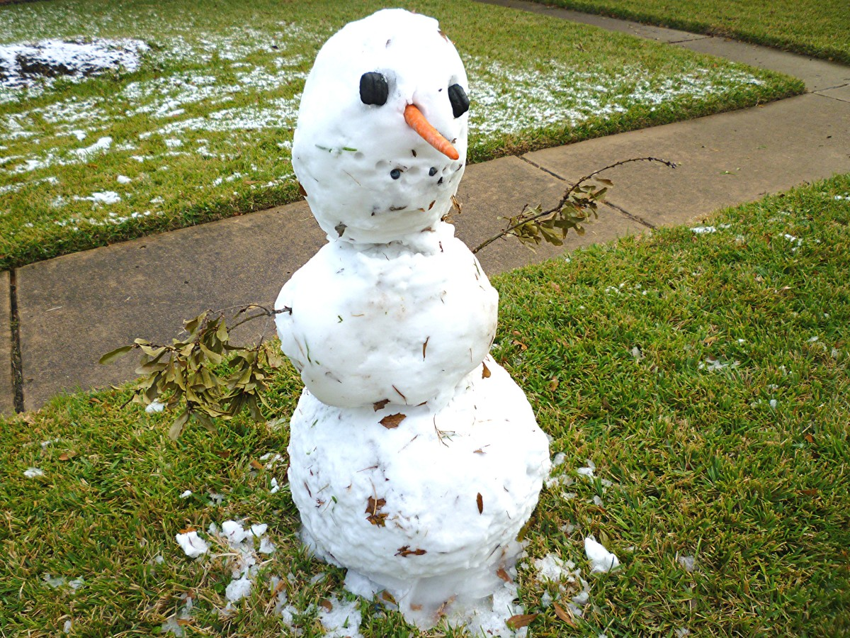 Snowman in Houston, Texas!  A rare sight!