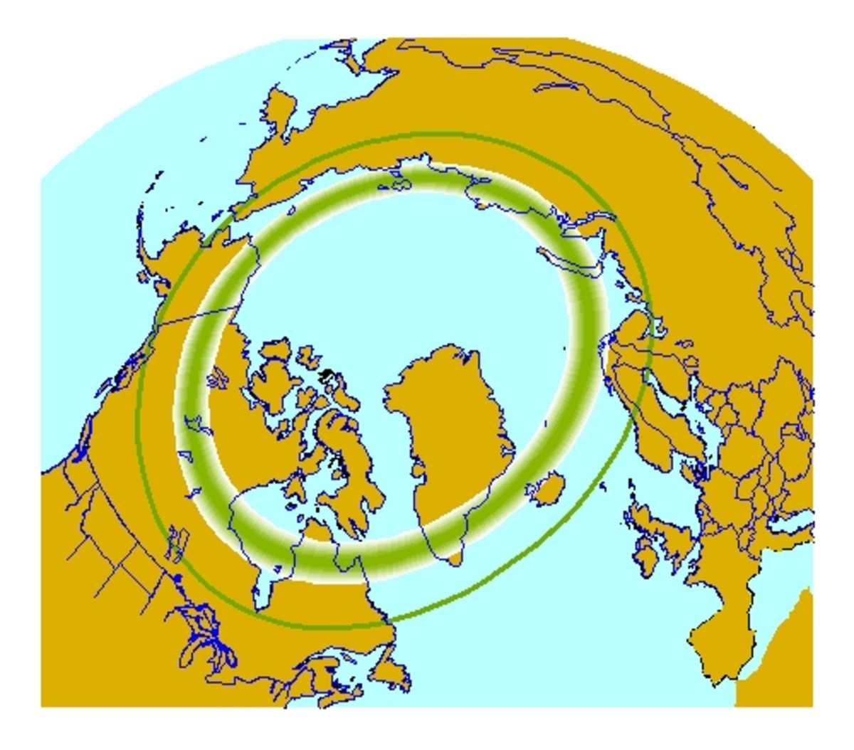 The dark green area shows the aurora belt which is where you are most likely to see the aurora borealis or northern lights.
