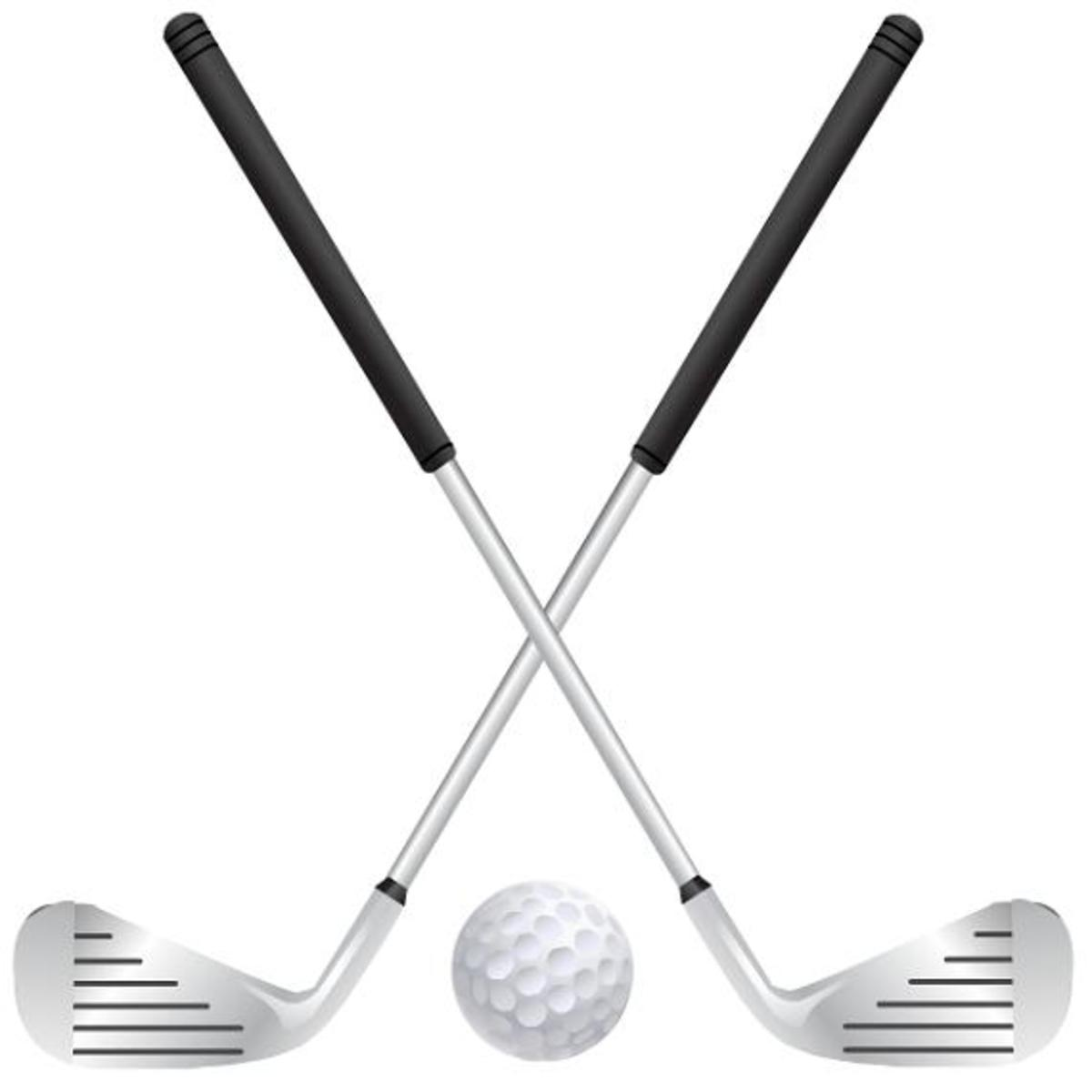 Golf clubs and ball clip art
