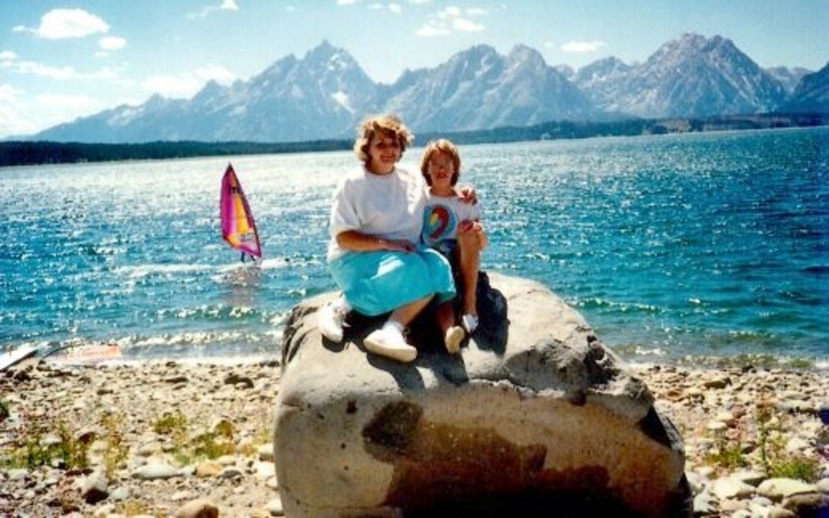 My niece & me at the Signal Mountain boat launch area of Jackson Lake