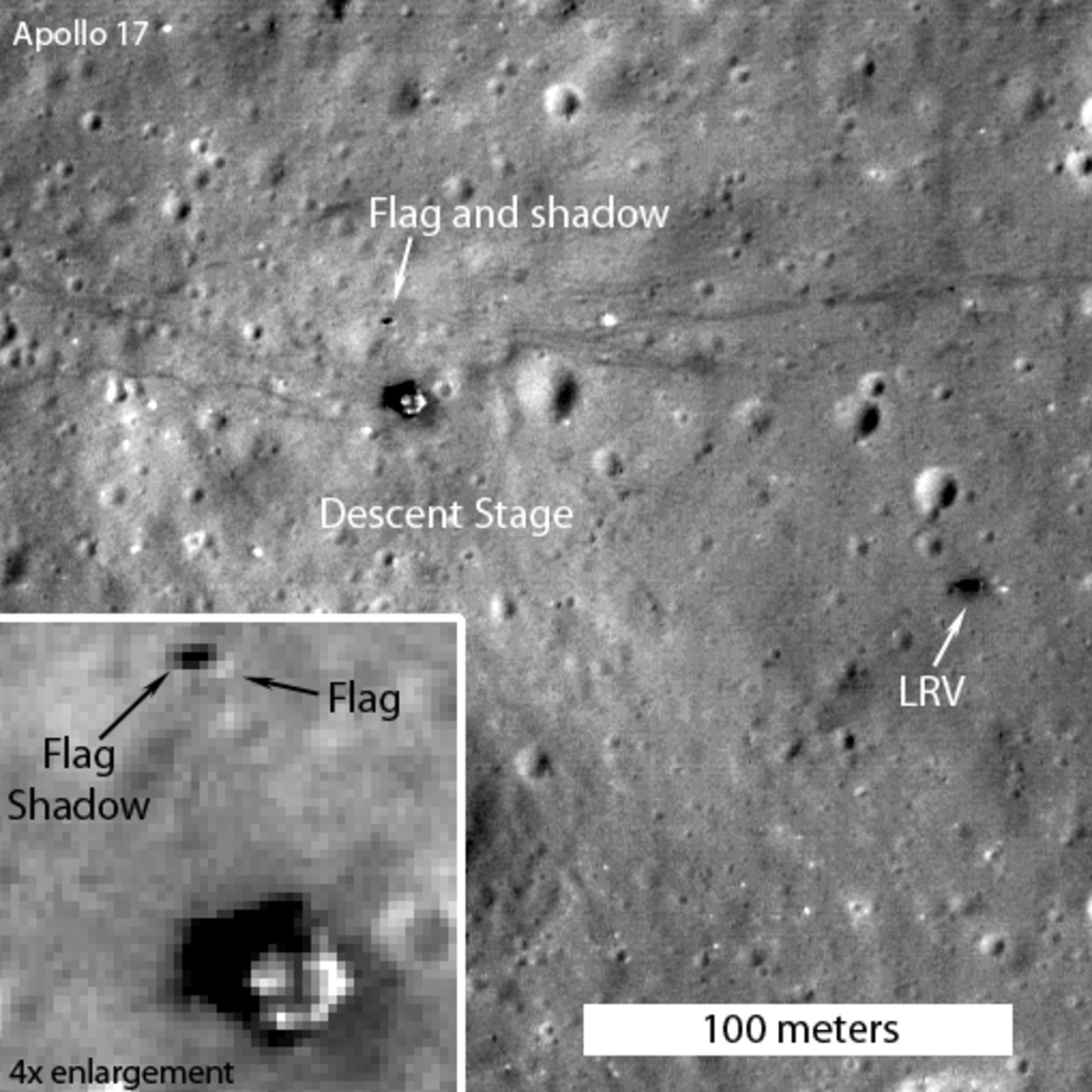 September 2011? Apollo 17 Lander with flag shadow visible.