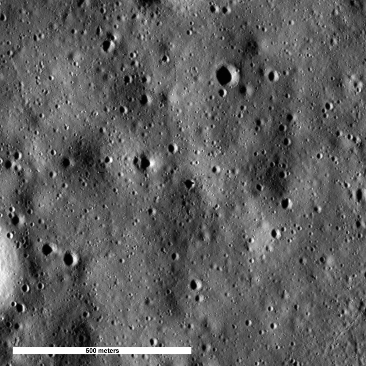 July 2009 - first image of Apollo 16 site. It's there but hard to see; check the next image for a close-up.