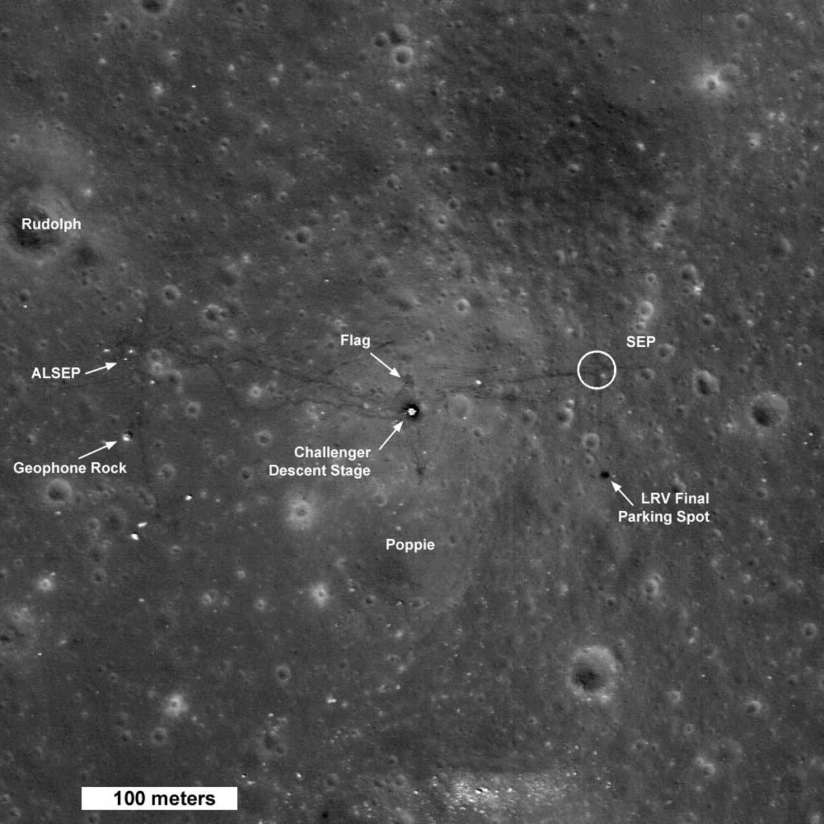 September 2009: First image showing shadow of flag on moon.